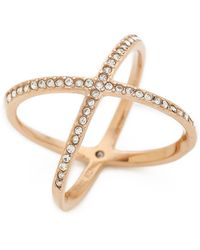 Michael Kors Pave X Ring - Rose Gold/Clear - Lyst