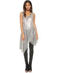 Anna Sui | Celestial Sequins Asymmetrical Top - Silver Multi | Lyst