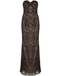 Notte By Marchesa Strapless Embroidered Lace Gown - Lyst