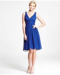 Ann Taylor Petite Silk Georgette Knot Shoulder Dress - Lyst