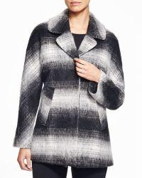 Sam Edelman 'erin' Blurry Plaid Coat - Black
