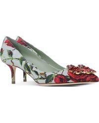 Dolce & Gabbana Rose-Print Pumps red - Lyst