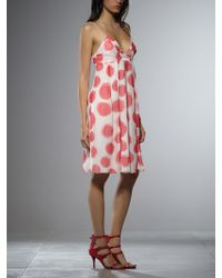 Patrizia Pepe Short Dress With Straps In Patterned Silk Georgette - Lyst