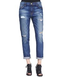 Current/Elliott The Fling Bluebennett Destroyed Jeans - Lyst