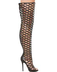Lust For Life Fixx Thigh High Cutout Heels - Black