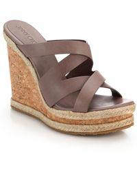 Jimmy Choo Prisma Cork-Wedged Leather Mule Sandals brown - Lyst
