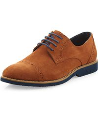 Joseph Abboud - Theo Suede Cap Toe Laceup Oxford Tobacco Suede 9 - Lyst