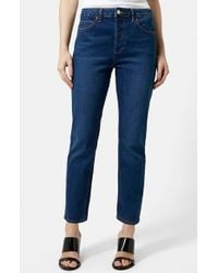 Topshop Moto Indigo Girlfriend Jeans blue - Lyst