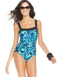 INC International Concepts - Printed Ruched One-piece Swimsuit - Lyst