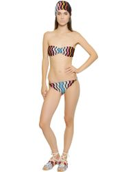 Missoni Viscose  Lurex Knit Bandeau Bikini - Lyst