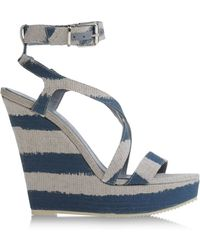 Burberry Gray Sandals - Lyst