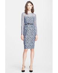 Lela Rose Two-Piece Lace Sheath Dress - Lyst