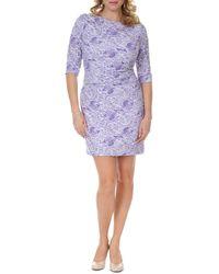 Kay J's By Kay Unger 3/4-sleeve Lace-print Dress - Purple