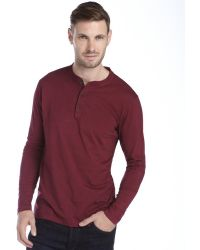 Tailor Vintage Fig Red Cotton Long Sleeve Henley - Lyst