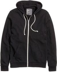 H&M Black Hooded Jacket - Lyst