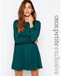 Asos Mini Babydoll Swing Dress With Long Sleeve - Lyst