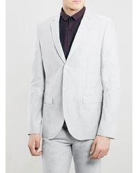 Topman Grey Oxford Skinny Fit Blazer - Lyst