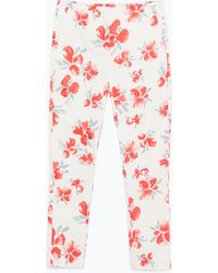 Zara Printed Skinny Trousers - Lyst