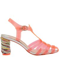 Sophia Webster Orange Rosa 70 Raffia Heel Jelly Sandals - Lyst