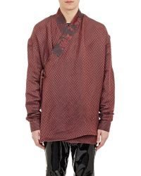 Haider Ackermann Chevron-Pattern Kimono Shirt - Lyst