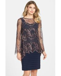Adrianna Papell Dress Lace With Chiffon Capelet In Blue