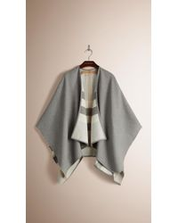 Burberry | Check-lined Wool Poncho | Lyst
