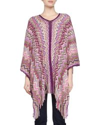 Missoni Long Zigzag Poncho with Fringe - Lyst
