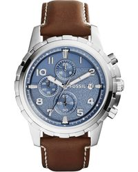 Fossil Men'S Chronograph Dean Brown Leather Strap Watch 45Mm Fs5022 - Lyst