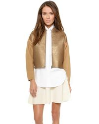 3.1 Phillip Lim Foiled Printed Wool Jacket  Dunegold - Lyst
