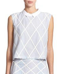 Band of Outsiders Lattice Cotton & Silk Top - Lyst