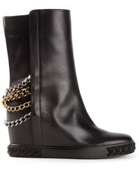 Casadei Chain Trimmed Boots - Lyst