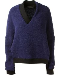 Thakoon Navy and Black Asymmetric Pullover in Curly and Mottled Wool - Lyst