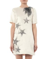 Marc By Marc Jacobs - Satin Stud Embellished Stars Shift - White - Lyst
