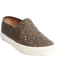 Aerin - Olive Leaf Cutout Leather And Canvas 'Marsden' Sneakers - Lyst