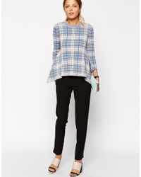 Asos Jumper In Structured Knit In Check - Lyst