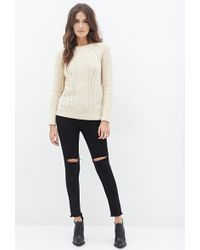 Love 21 Cable Knit Sweater - Lyst