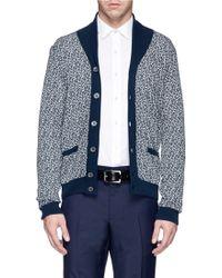 Incotex Contrast Collar Cotton-Linen Cardigan - Lyst