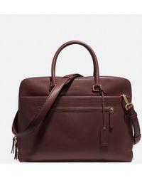 COACH Slim Brief in Polished Retro Glove Tan Leather - Brown