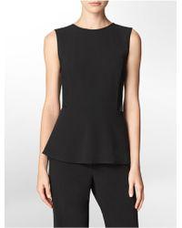 Calvin Klein White Label Ponte Knit + Faux Leather Detail Peplum Sleeveless Top - Lyst