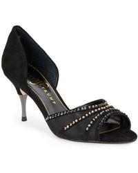 Ivanka Trump Nola Peep-Toe Sandals/Black - Lyst