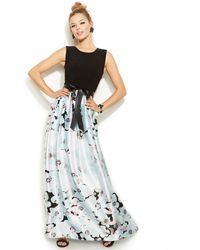 Betsy & Adam Sleeveless Floral-Print Gown - Lyst