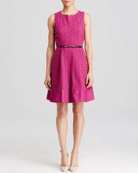 Calvin Klein Scallop Eyelet Belted Dress - Lyst