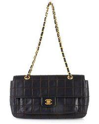 Chanel Pre-Owned Black Chocolate Bar Stitch Half Flap Bag - Lyst