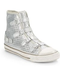 Ash Star Perforated Leather Hightop Seakers - Lyst