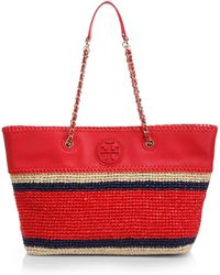 Tory Burch Marion Straw & Leather Tote - Lyst