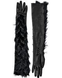 Lanvin Long Suede Gloves W/fringe - Black