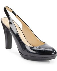 Geox Patent Leather Slingback Pumps - Lyst