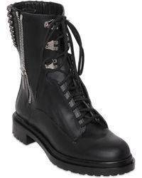 Sergio Rossi 30Mm Rockstar Leather Combat Boots - Black