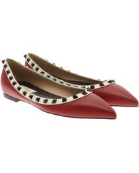 Valentino Rockstud Leather Flats - Lyst