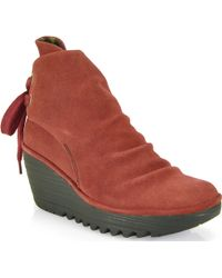 Fly London Yama - Suede Wedge Booties - Lyst